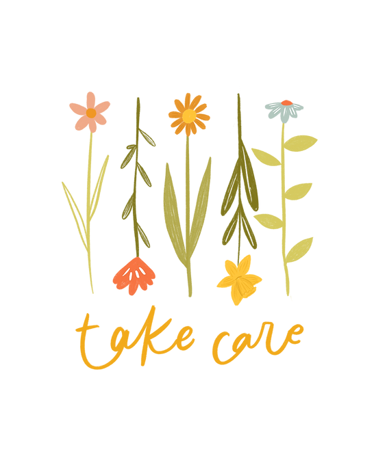 Take care - floral design 1 bottom text.