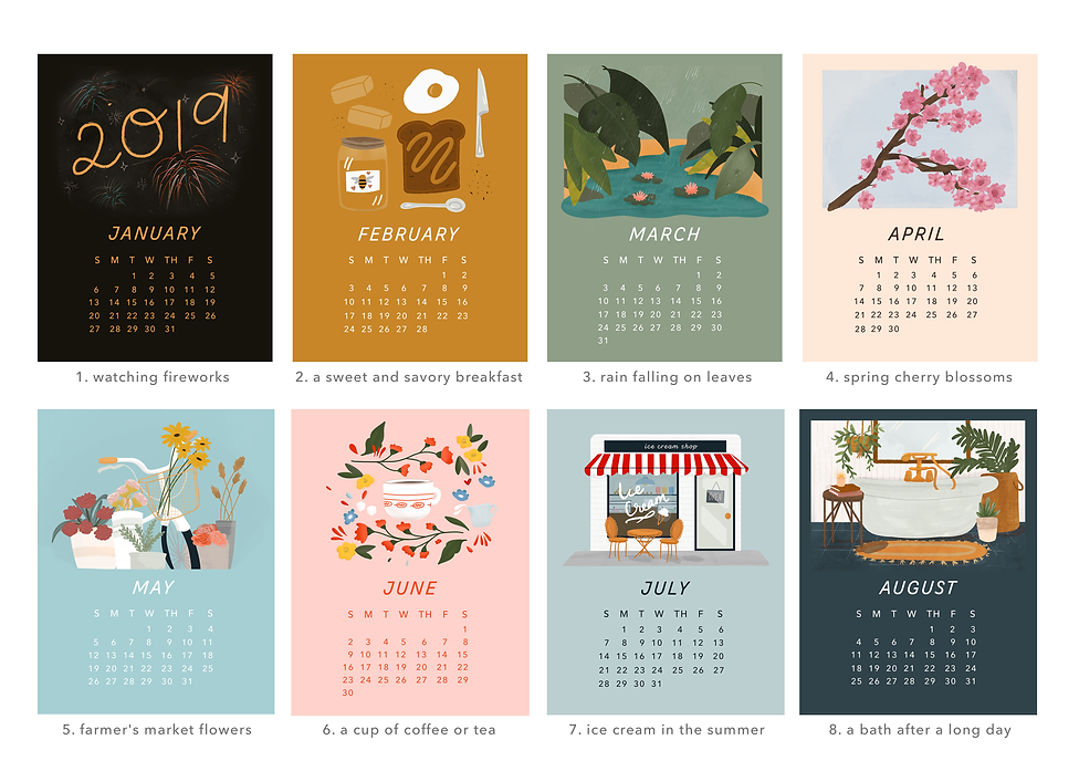 Calendar pages - January through August