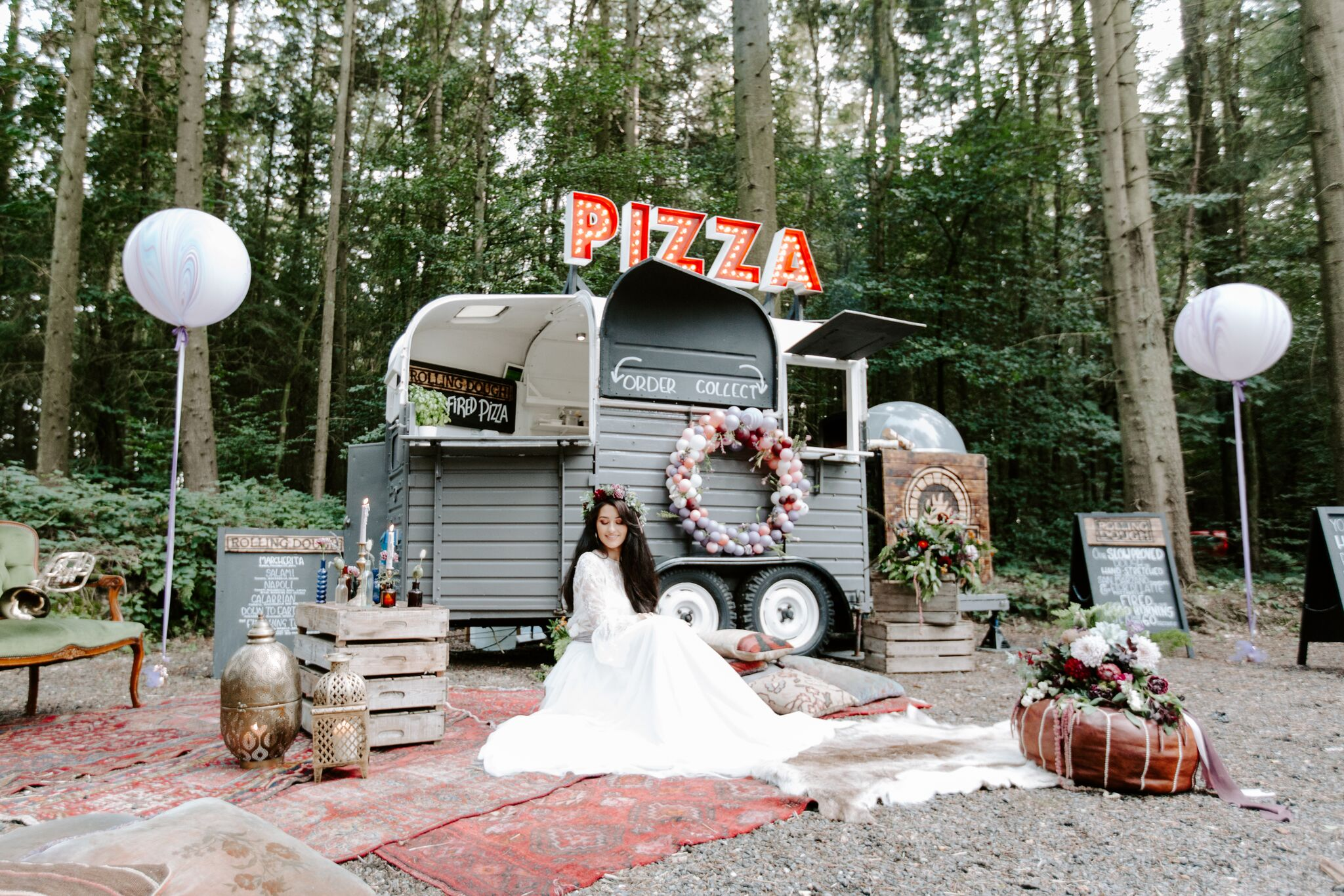 Wedding street food pizza trailer
