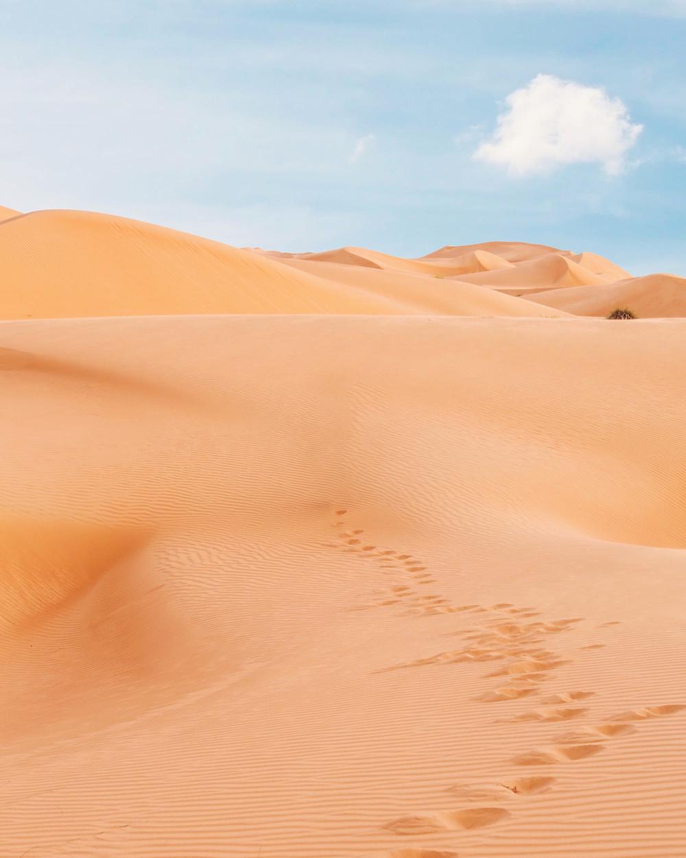 Footprint impressions on sand dunes