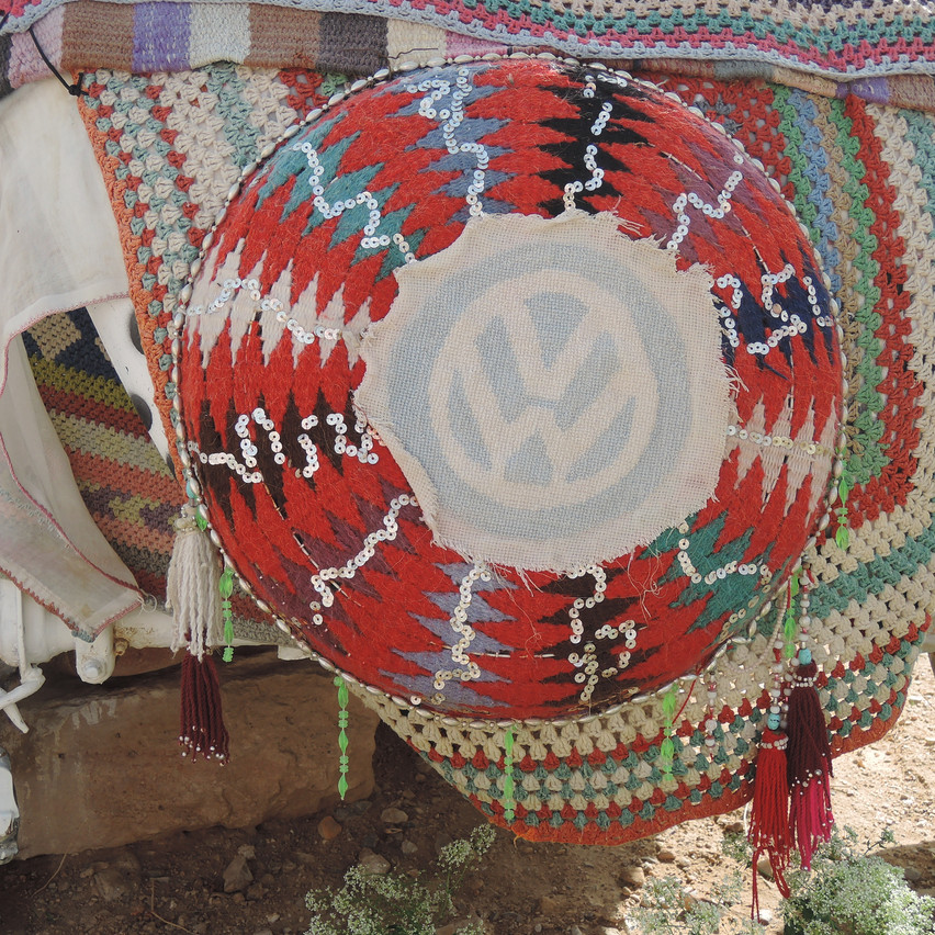 Closeup crocheted VW emblem | Smallest Hotel