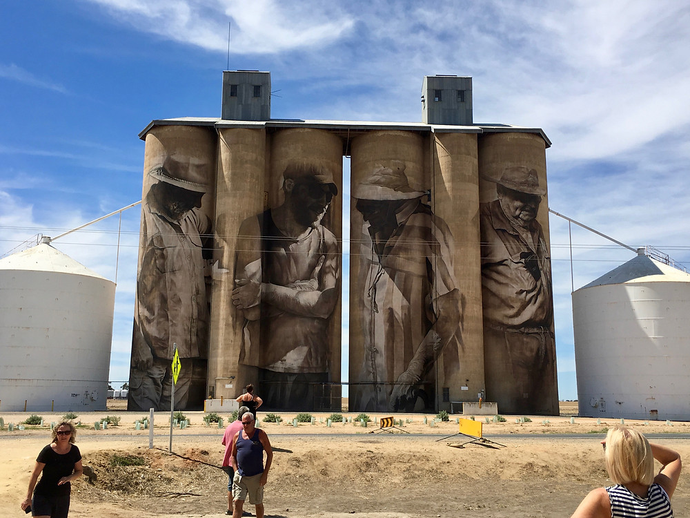 Silos with painted murals