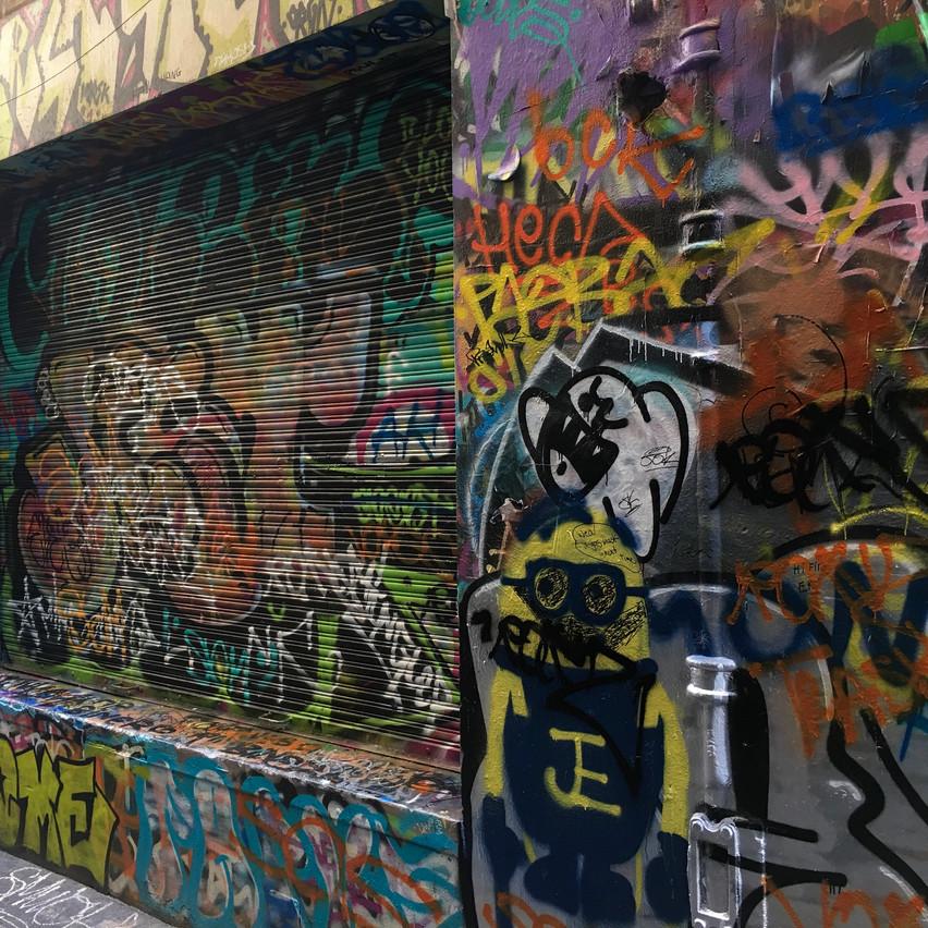 Graffiti painted on metal shutter | Union Lane