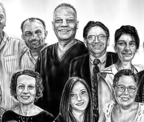 Adam Foster, a tattoo artist, has created a piece in memory of Dr Amged El-Hawrani, an ENT consultant at Queen's Hospital Burton, who has passed away from coronavirus, showing him with his team. (Credit - Adam Foster)