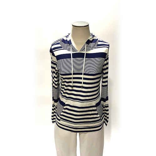 Cream and Navy Striped Top