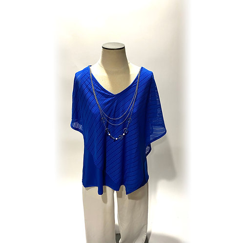 Blue Poncho with Necklace