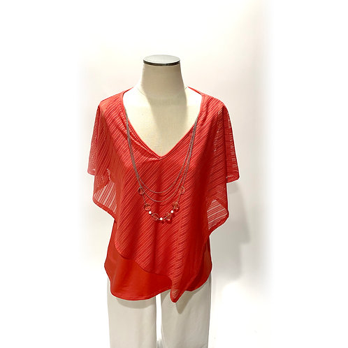 Coral Poncho with Necklace
