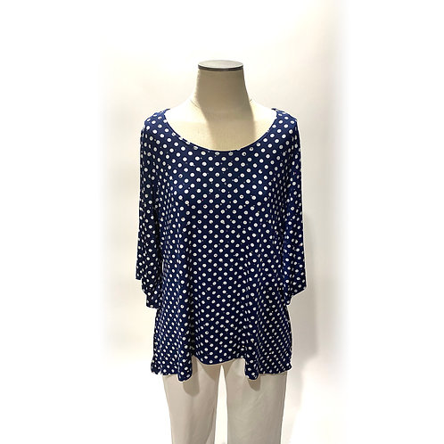 Navy and White Polka Dot Top