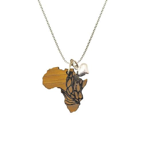 Kette Afrika Protea Liebe mit silbernem Herzanhänger