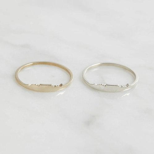 Ring Tafelberg / Messing oder Sterling Silber