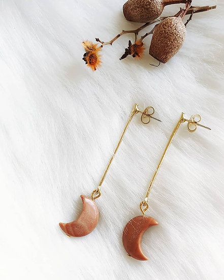 Red Malachite Crescent Moon Earrings
