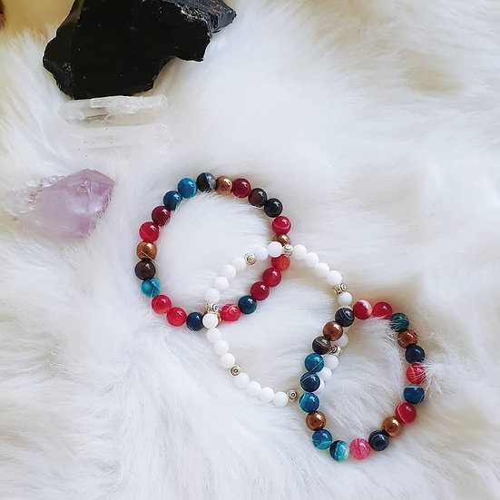 Multicoloured Agate Bracelets