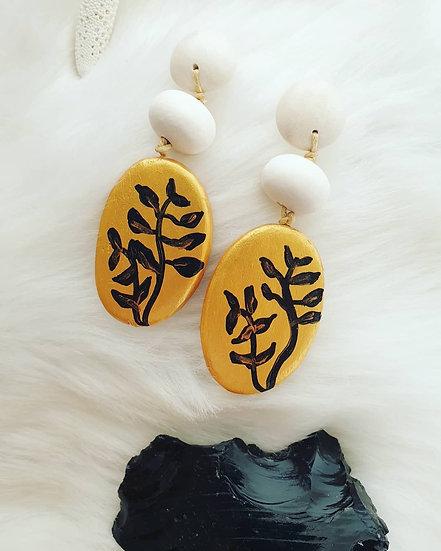 Gold & Black Leaf Wooden Earrings