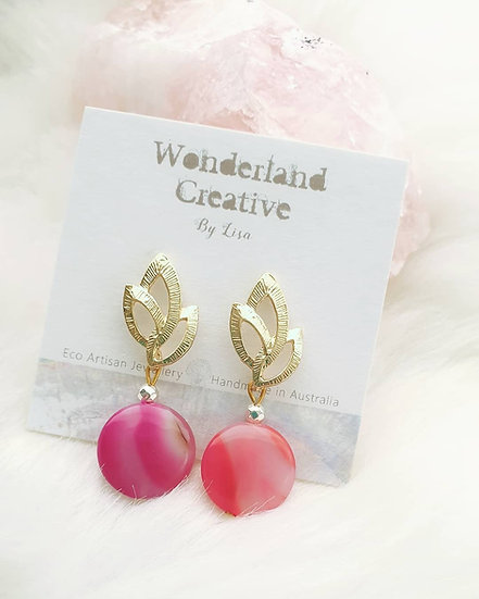 Pink Agate Coin Earrings