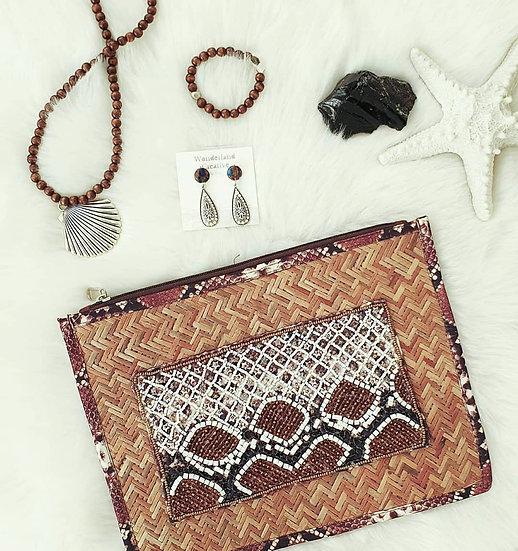 Flat Weave Beaded Clutch Bag