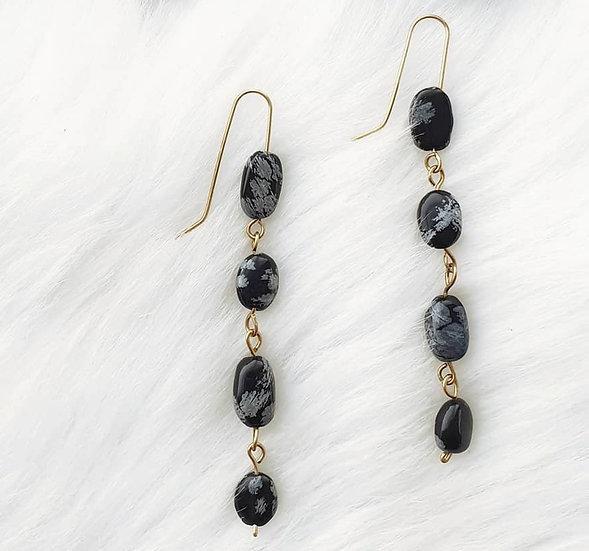 Snowflake Obsidian Brass Link Earrings