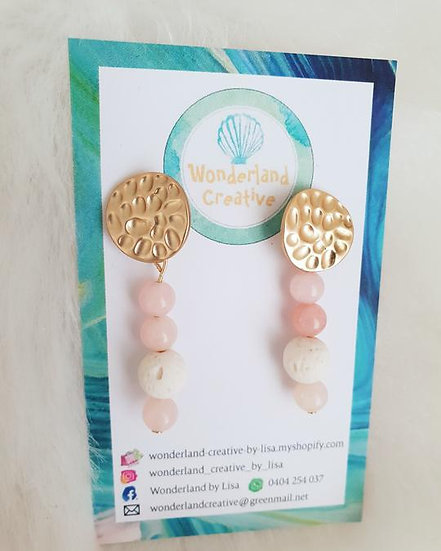 Rose Quartz and White Lava stone earrings