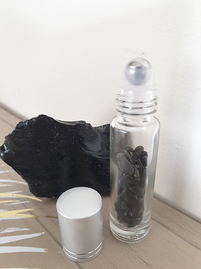 Black Obsidian Essential Oil Roller Bottle
