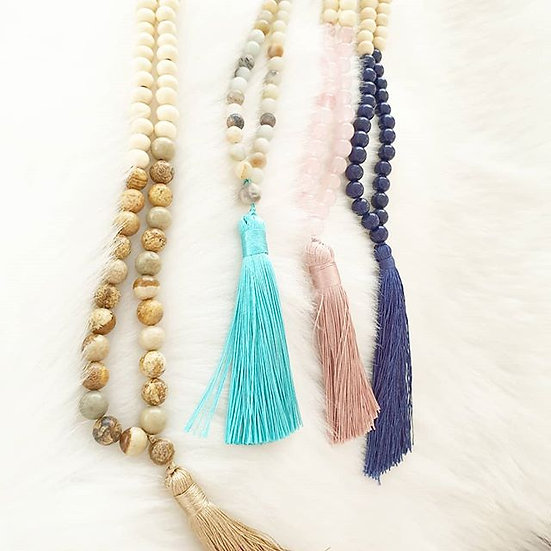 Long Wood and Stone Beaded Necklace