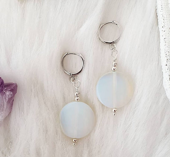 Opalite Coin Earrings