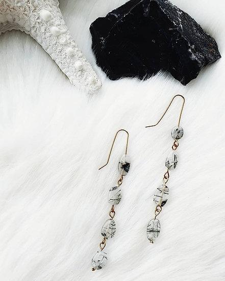 Rutilated Quartz Brass Link Earrings