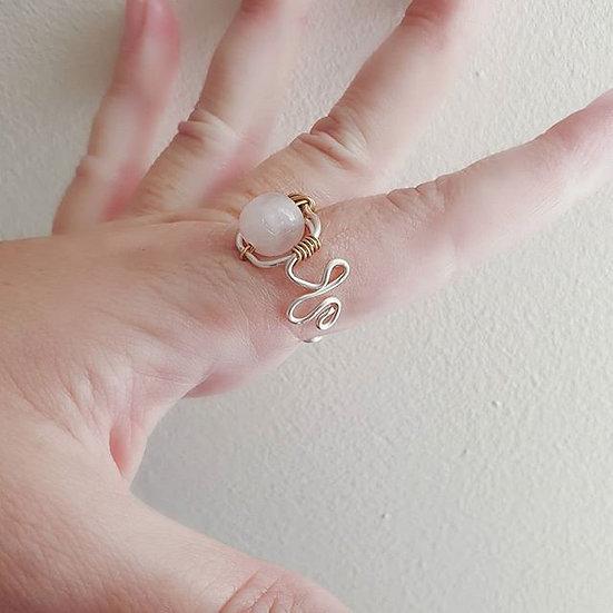 """Chloe"" Rose Quartz Wire Ring"