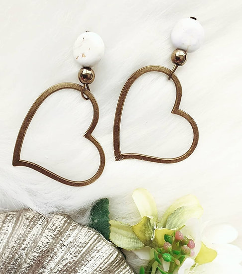 Stone Heart Hoops in Brass