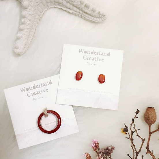 Carnelian Mini Stud Earrings