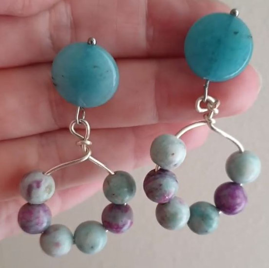 Amazonite and Crazy Agate Wire Hoops