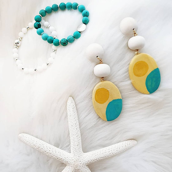 Ocean Sun Wooden Earrings