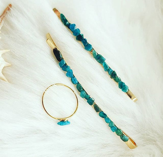Apatite Hair Slides Pair