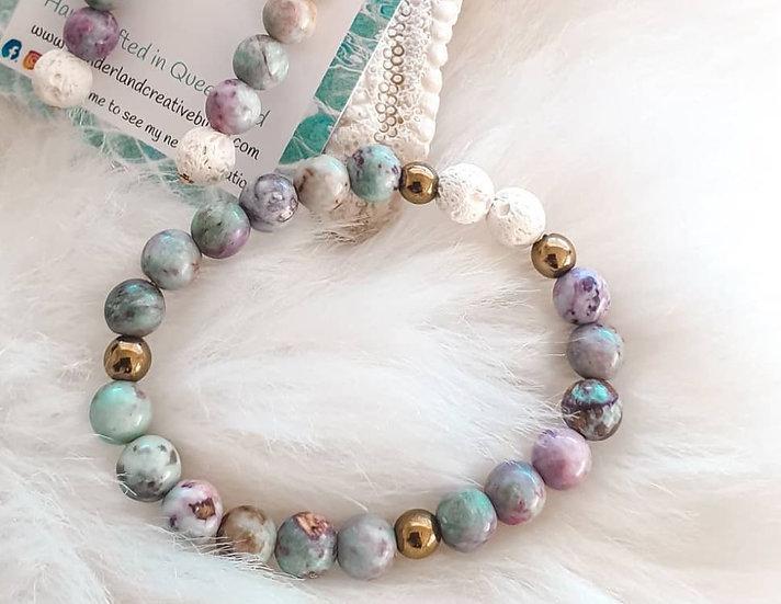Crazy Agate + Hematite Diffuser Bracelet