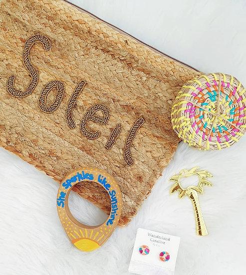 Soleil Beaded Woven Clutch Bag