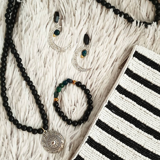 Long Black Wooden Bead Necklace