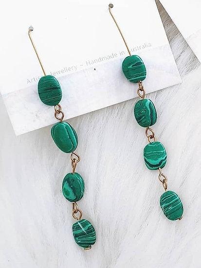Malachite Brass Link Earrings