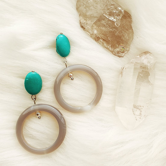 Turquoise and Smoky Agate Stone Hoops