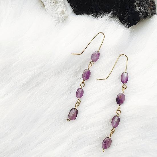 Amethyst Brass Link Earrings