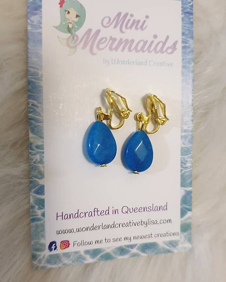 Blue Jade Clip-on earrings