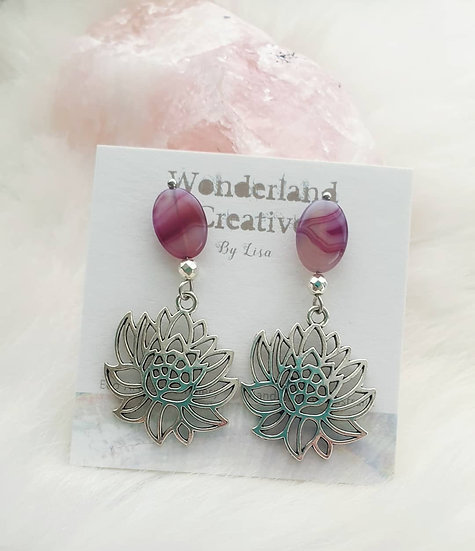 Purple Agate Midi Lotus Flower Earrings