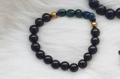 Black Agate, Hematite and Blue Tiger's Eye Bracelet