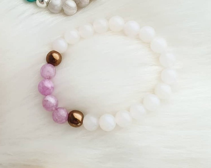Purple Angelite and White Jade Bracelet