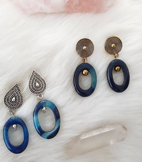 Blue Agate Ovals