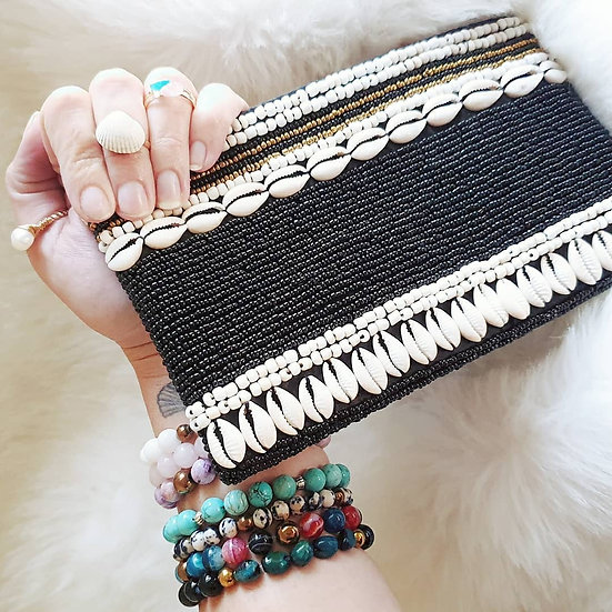 Shell and Beaded Clutch Bag