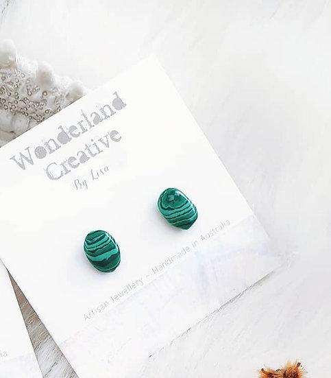 Malachite Mini Nugget Studs