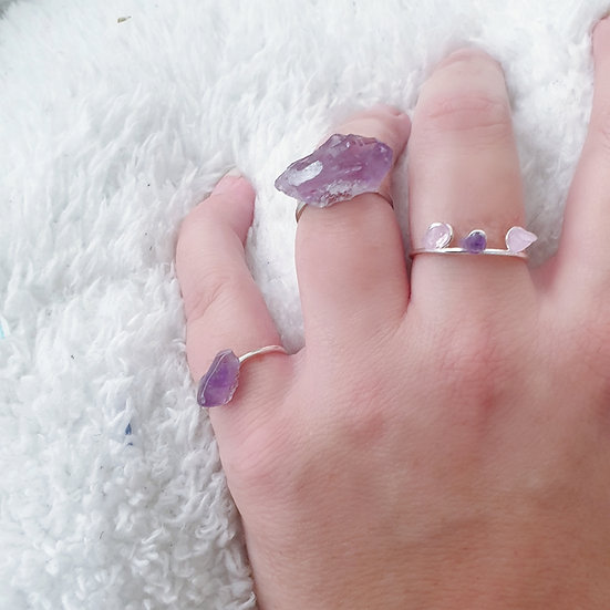 Rough Cut Amethyst Point Ring