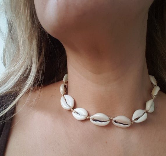Cowrie Shell Tie Necklace