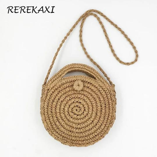Small round woven shoulder bag