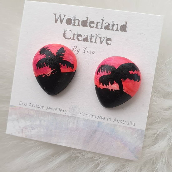 Pink Sunset Palms - Large Stud