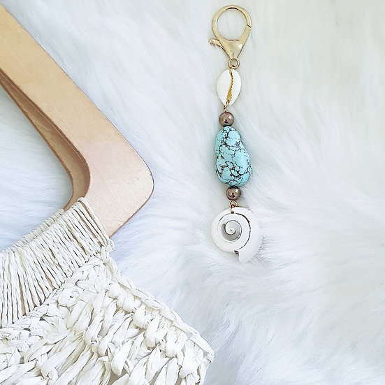 Shell and Turquoise Bag Charm