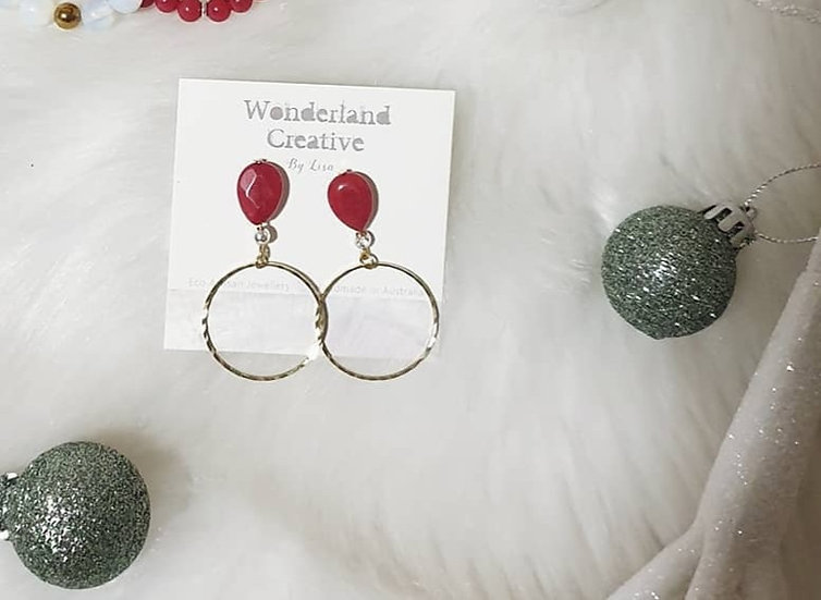 Red Jade and Brass Hoops